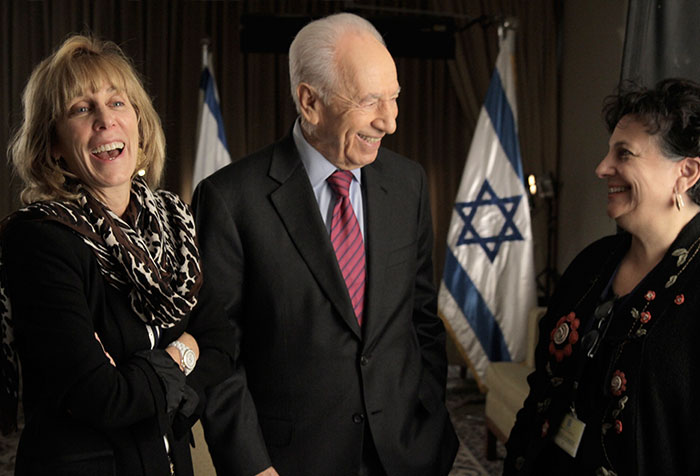 President Shimon Peres, Nancy Spielberg and Roberta Grossman